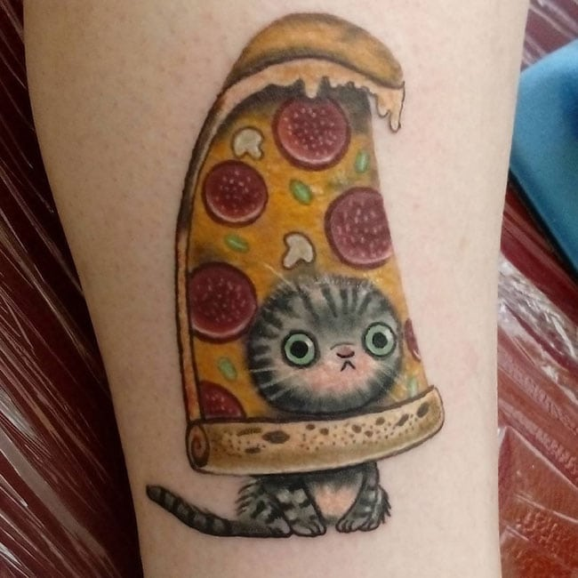 funny tattoos - cat pizza