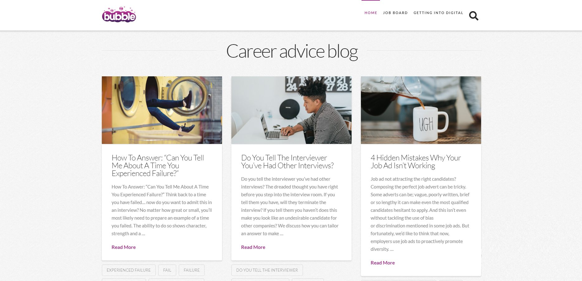 job search advice bubble blog