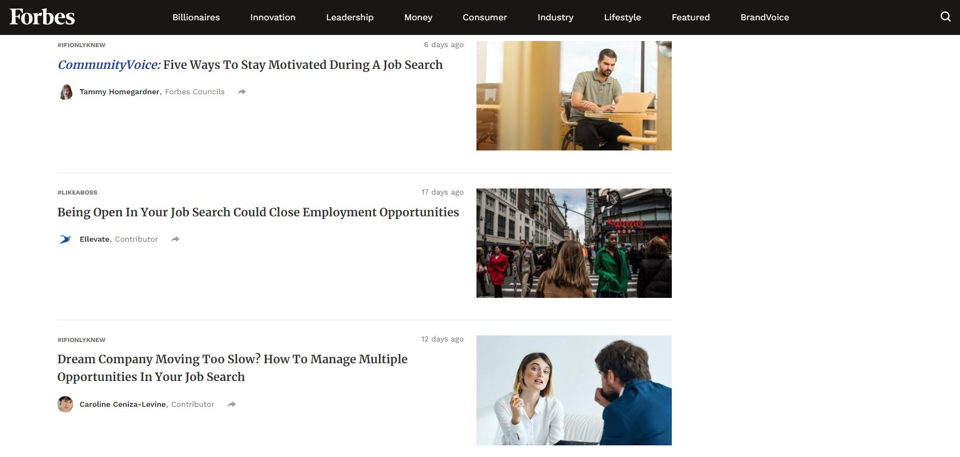 job search advice forbes