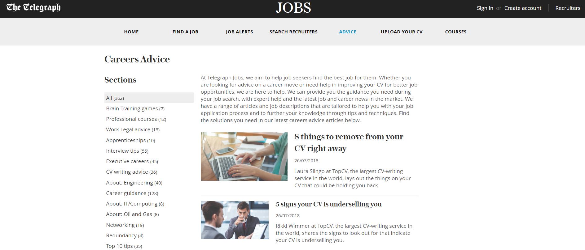 job search advice telegraph jobs