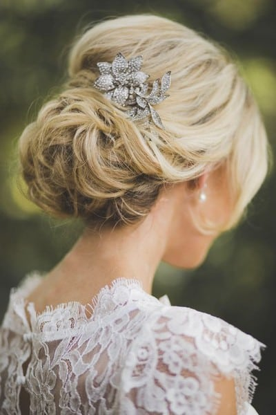 wedding updos: vintage broach bun