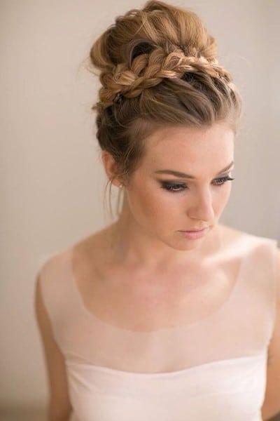wedding updos: braided crown bun