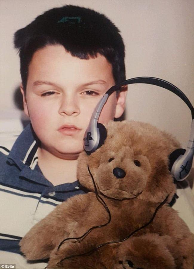 awkward school photos | teddy bear with headphones