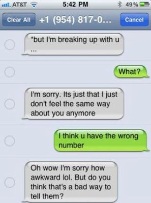 breaking up via text wrong person