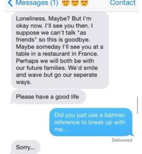 funny break up texts batman