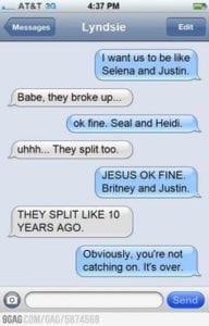 funny break up texts cele