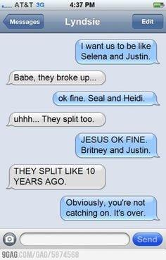 funny breakup texts celebrity breakups