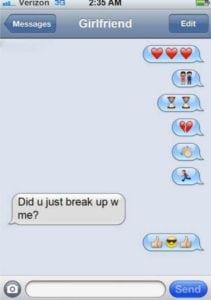 funny break up texts emoji