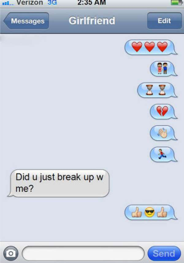 funny breakup texts | breakup by emoji