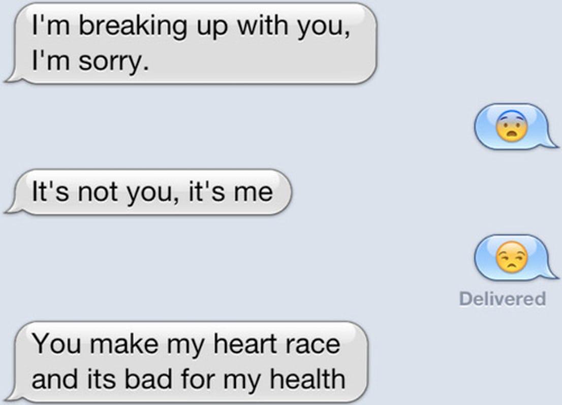 funny breakup texts heart race