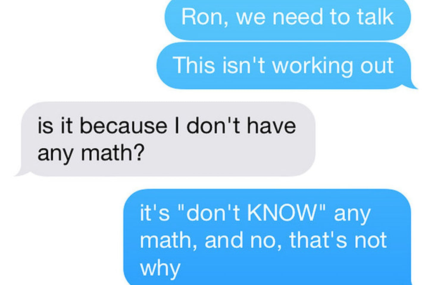 funny breakup texts | don't have any math