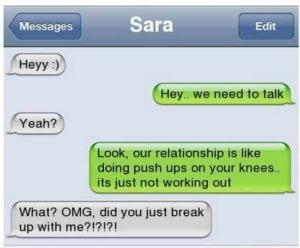 funny break up texts pushups