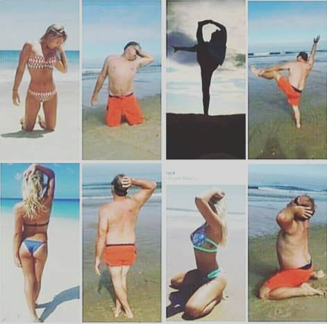 funny parents beach yoga poses