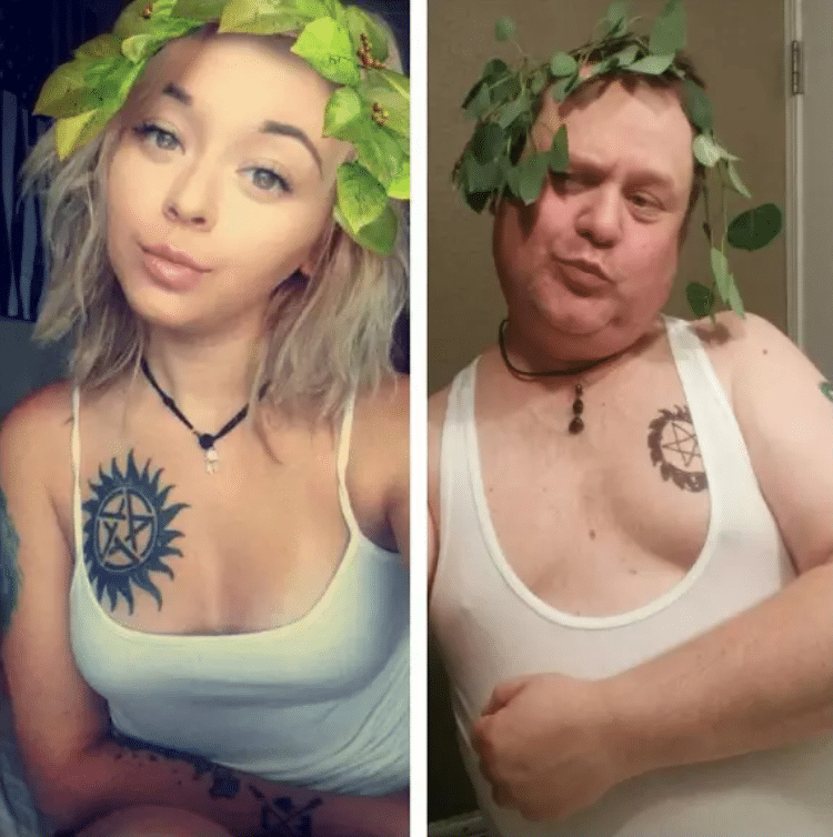 funny parents | dad with leaves on his head