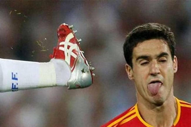 funny sports photos | kick in the head with cleats