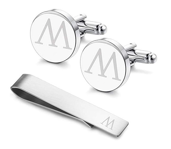 groomsmen gifts - engraved cufflinks and tie clip set