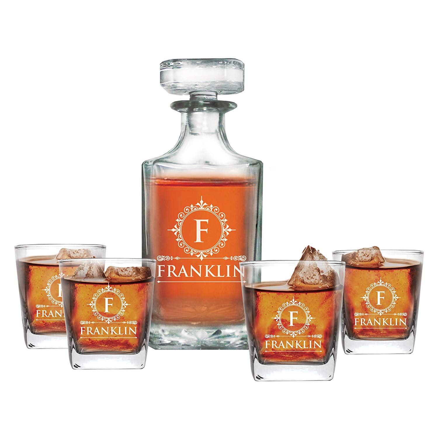 groomsmen gifts - engraved whiskey decanter set