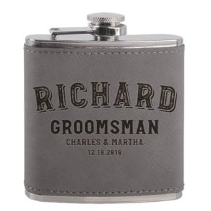 groomsmen gifts - leatherette personalized flask