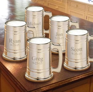 groomsmen gifts - set of 5 personalized beer mugs