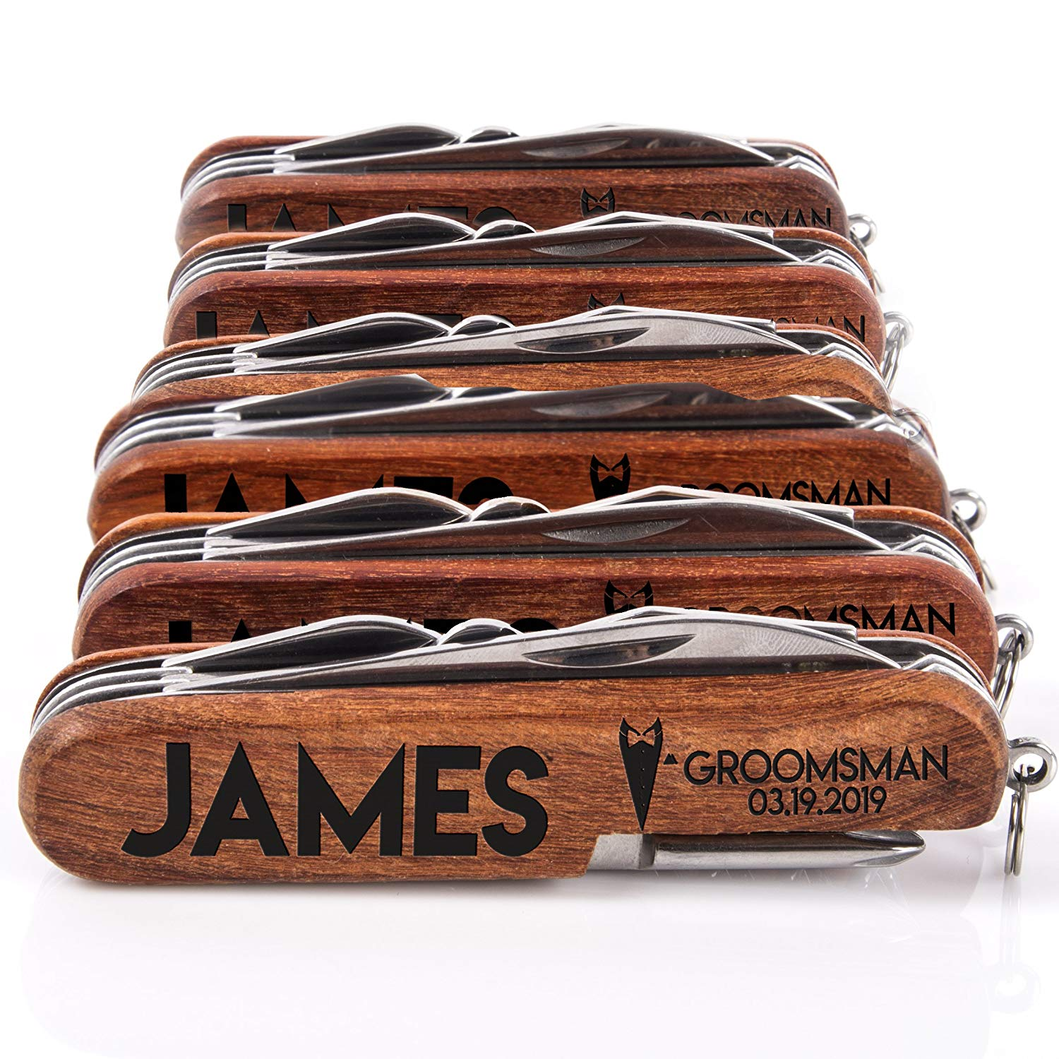 groomsmen gifts - set of 6 personalized pocket knives