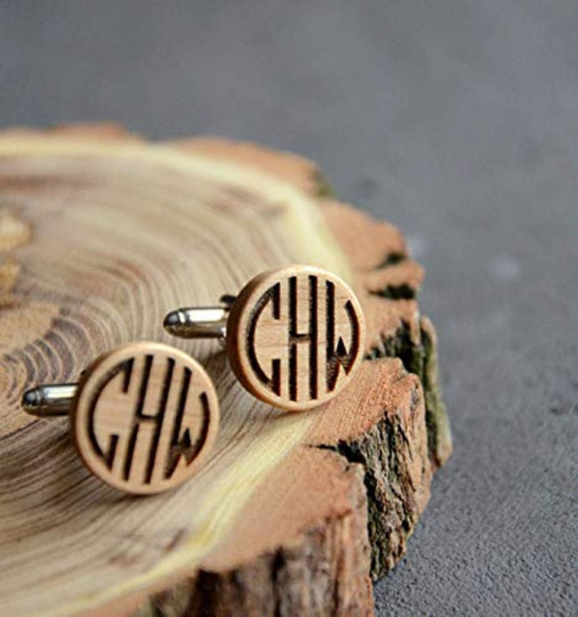 groomsmens gifts - engraved wooden cufflinks