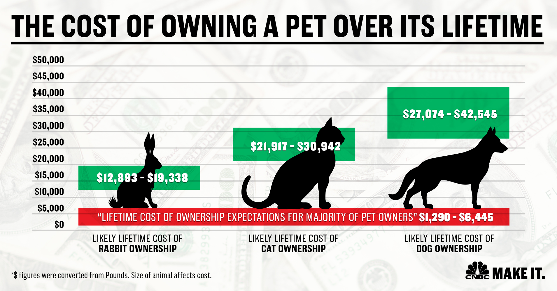 Chart showing average costs of owning a pet over a lifetime