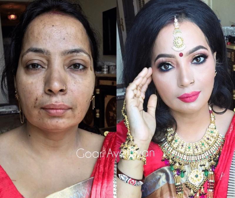 Indian woman makeup transformations