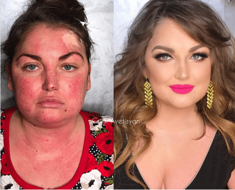 full coverage makeup transformations