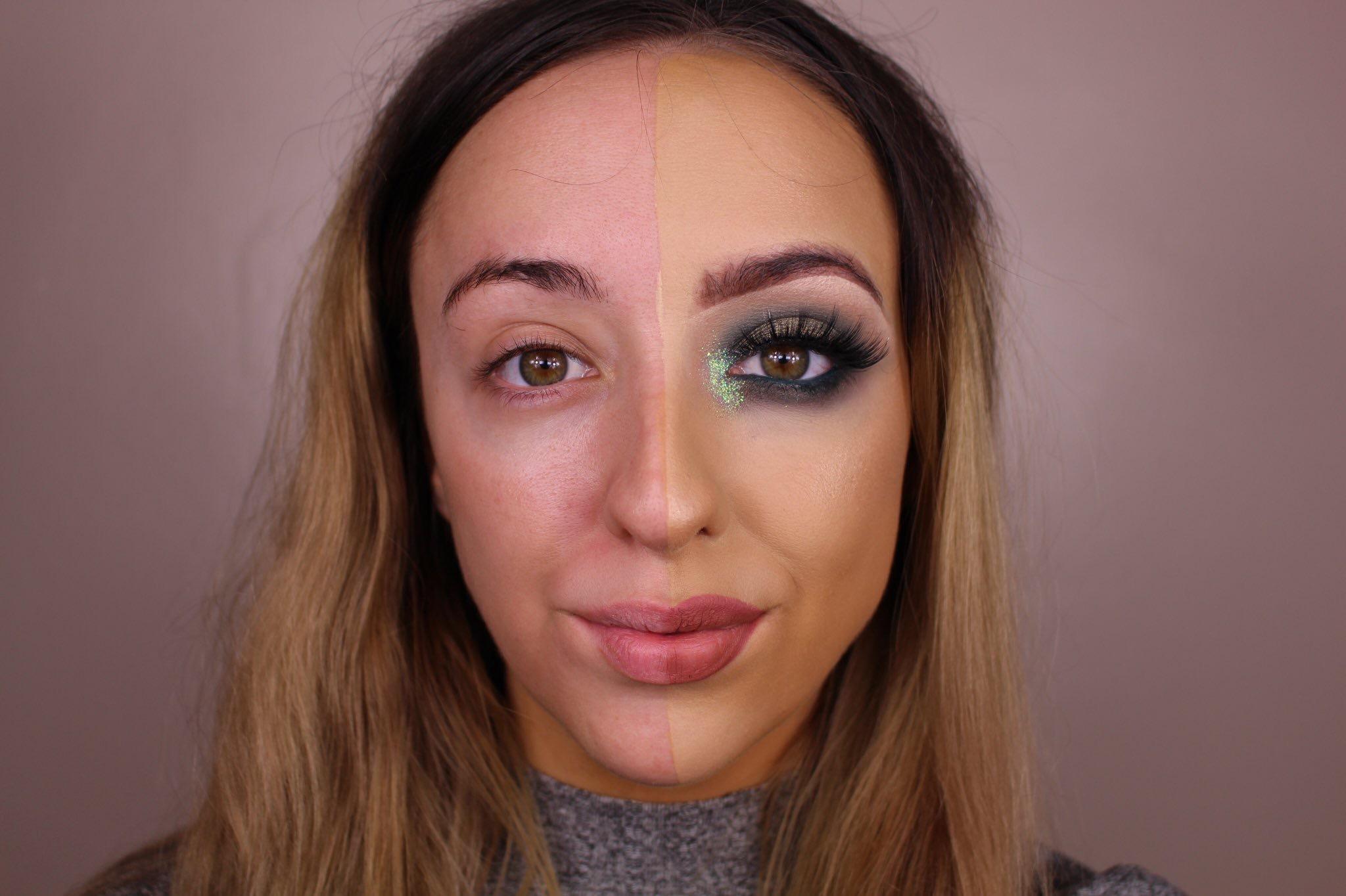 makeup transformations   split face