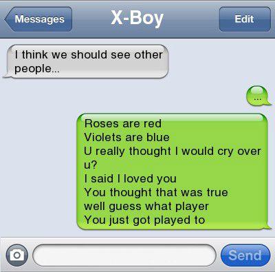 player got played break up text