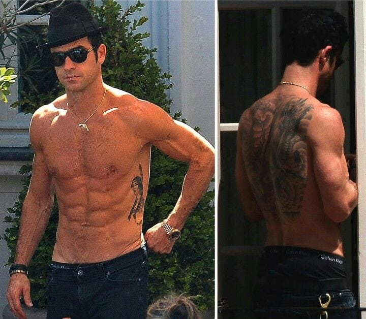 Justin Theroux side and back tattoos