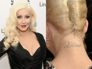 tattooed celebrities Christina Aguilera