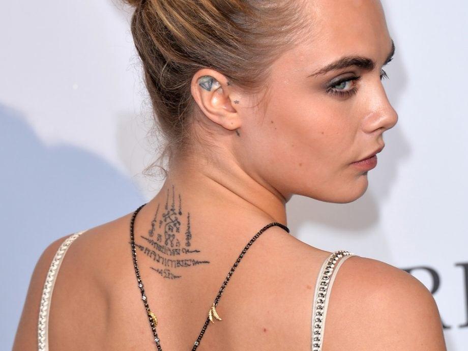 Cara Delevingne neck tattoo