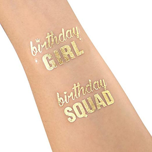 temporarty tattoos - gold birthday tattoos