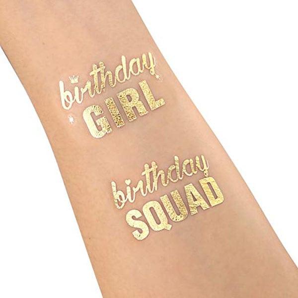 temporarty tattoos - gold birthday tattoos