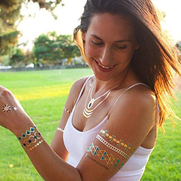 temporary tattoos - gold aztec