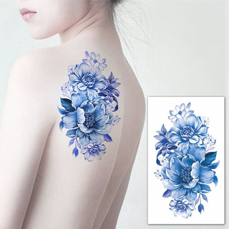 temporary tattoos - big blue flowers