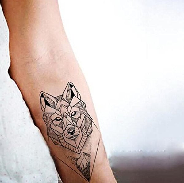 temporary tattoos - geometric wolf