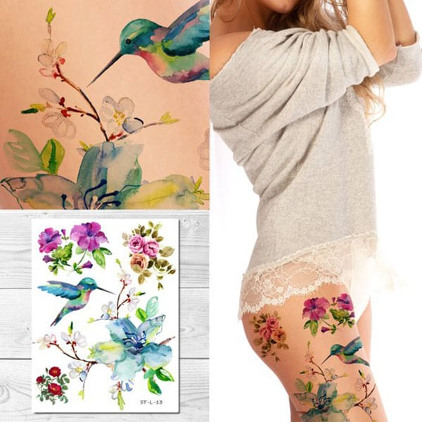 temporary tattoos - hummingbird