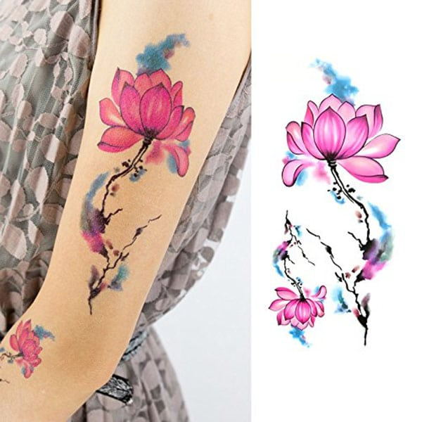 temporary tattoos - pink lotus