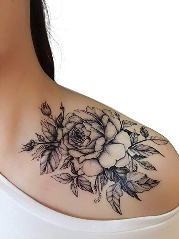 temporary tattoos - rose outline