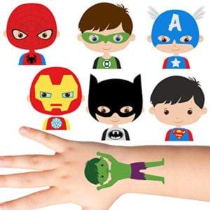 temporary tattoos- super hero