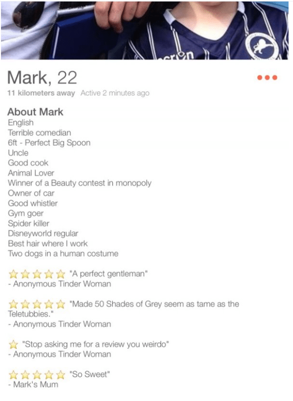 tinder bios mark