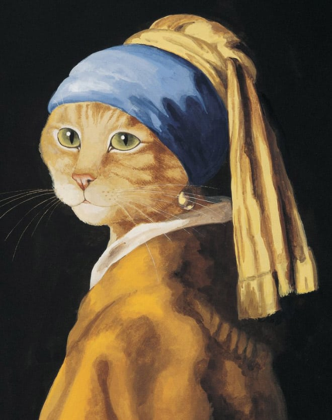 susan herbert funny cat art recreation the girl with the pearl earring
