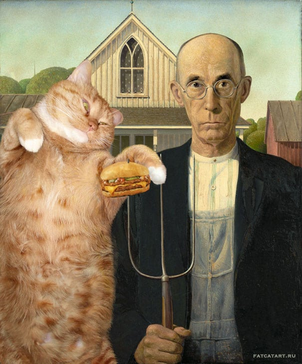 funny cat art american gothic
