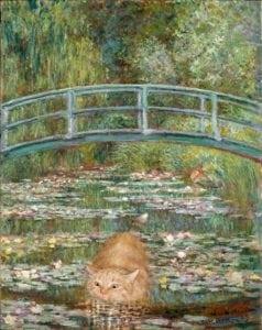 funny cat art bridge over a pond of water lilies monet svetlana petrova
