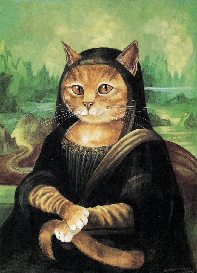cat art mona lisa