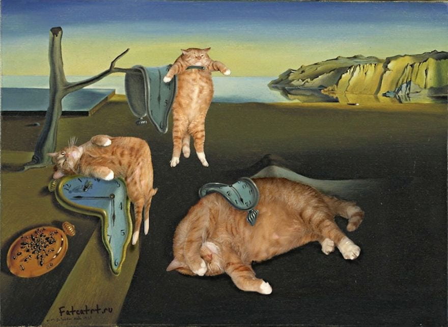 persistence of memory recreated as cat art