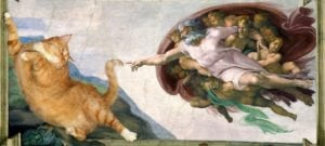 cat art the creation of adam svetlana petrova