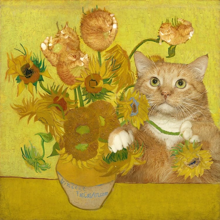 fat cat art van gogh sunflowers